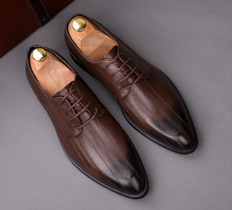 British Newest Designer gentleman pointed 3colors Oxfords lace-up flats Shoes