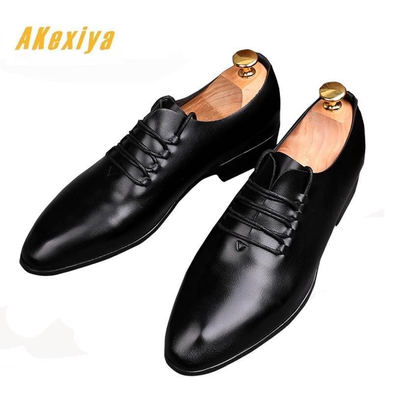 British Newest Trendy Designer gentleman man balck Oxfords lace-up flats Shoes