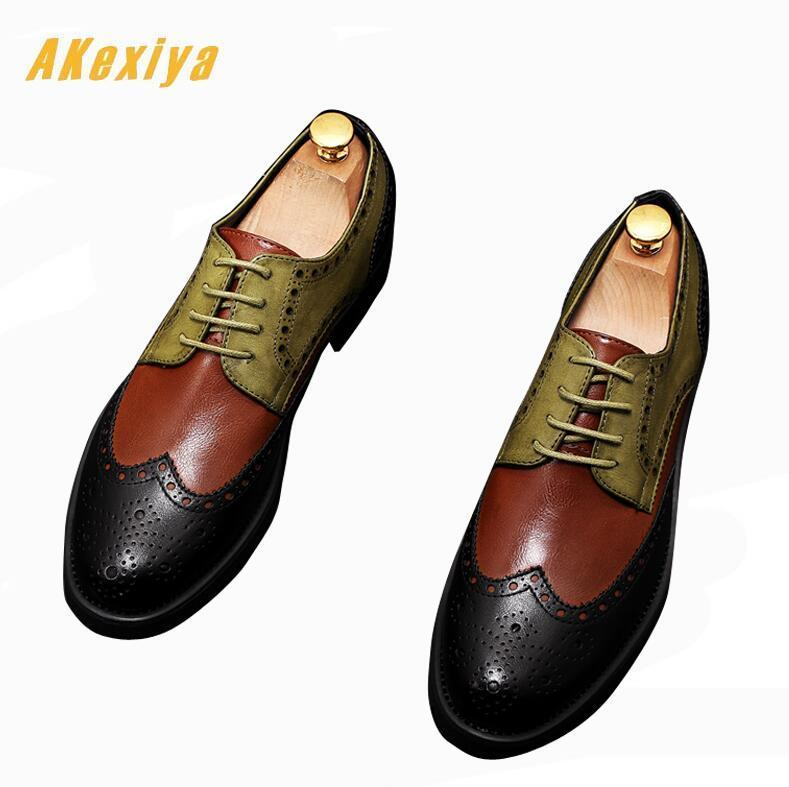 British Vintage Men luxury Designer gentleman pointed Brogue mixed colors oxfords Dress shoes