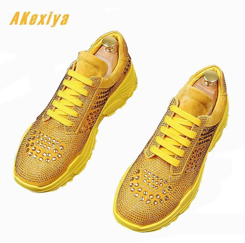 Charm Men royal luxury rhinestone high tops Causal Loafers
