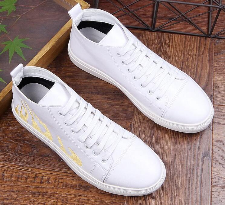 Fashion Designer Men Embroidery flame style Trendy Casual high top Shoes