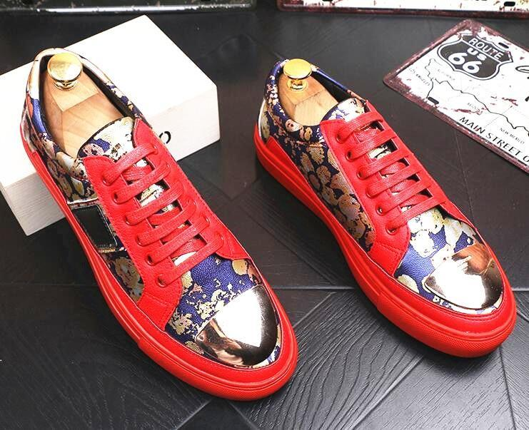 Fashion Designer Men Trendsetter Trendy British printing Casual thick bottom Shoes