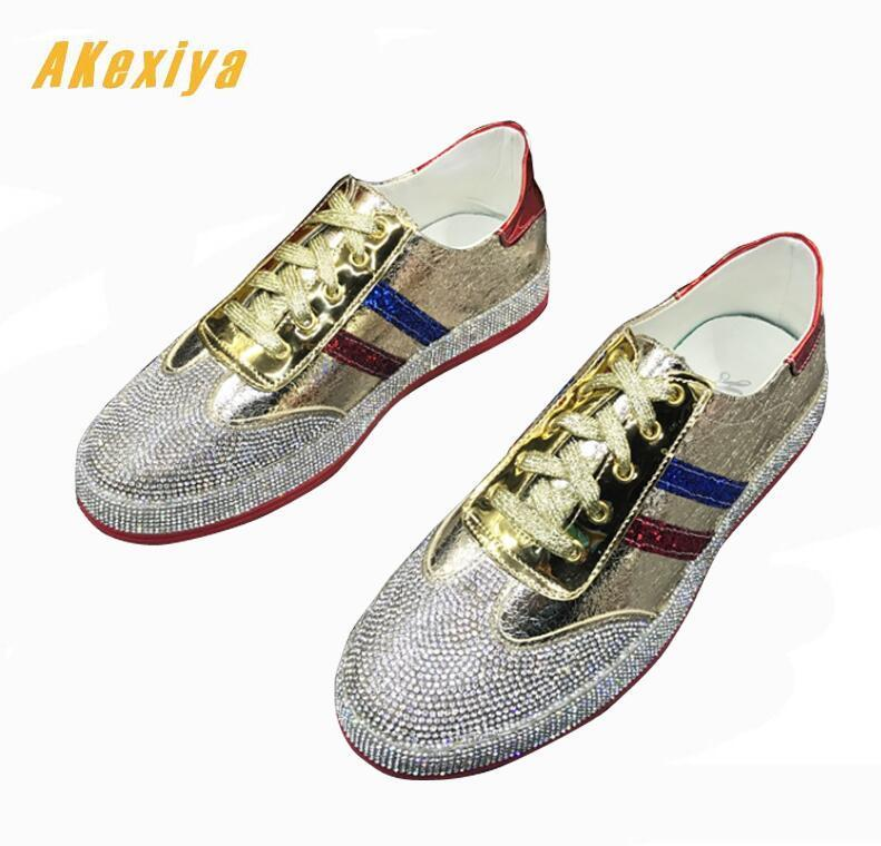 Fashion Men rhinestone gold silver red mixed color Causal Loafers