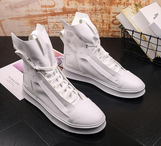 Fashion designer Men's Soft leather comfortable high top Casual Flats platform Shoes