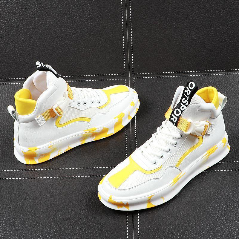 Fashion designer Men's white with yellow hip-hop Casual Flats pantshoes Shoes