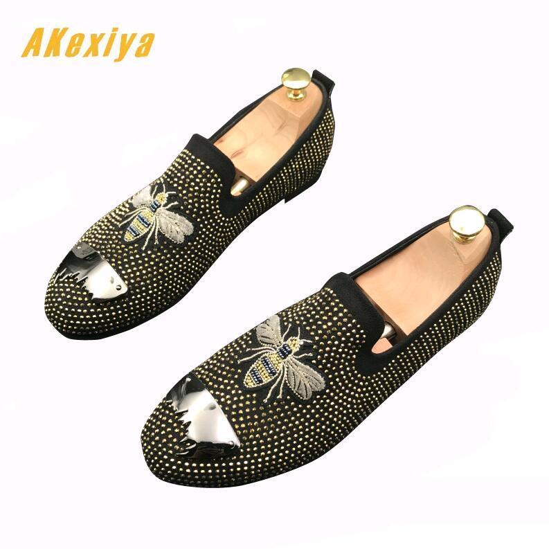 Men Streets Trendy Rhinestone embroidery bees Oxfords Casual Flats Shoes