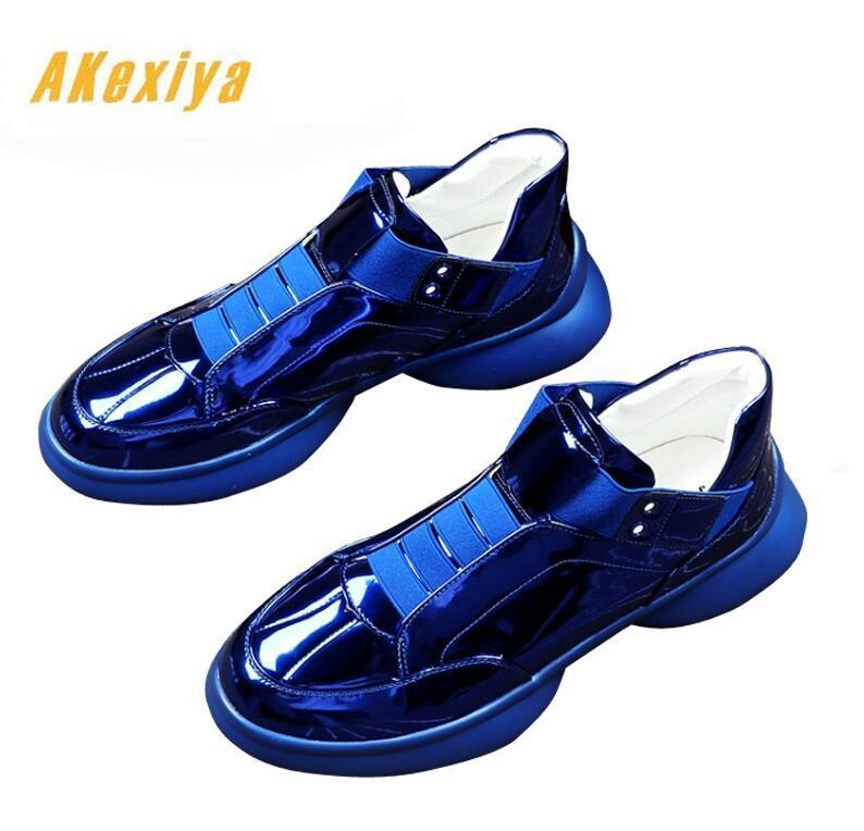Men Trendy Designer trendsetter shine blue white silver slip-on flats Casual Shoes