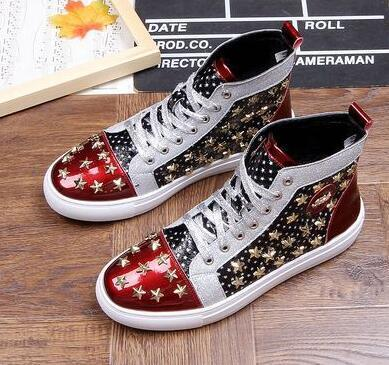 Men brand designer rivet American flag shoes