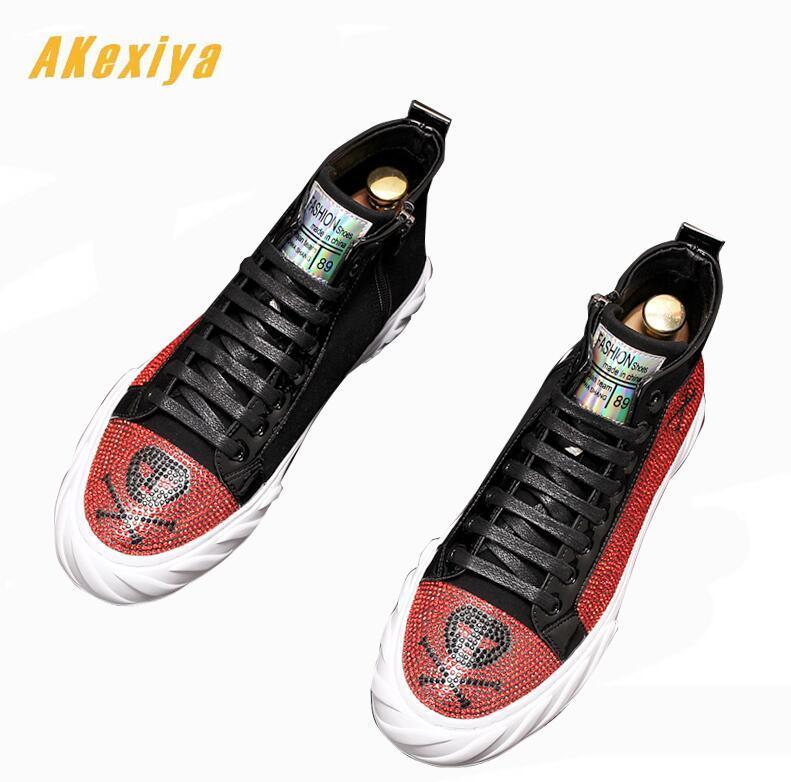 Men high tops platform loafers Graffiti pirate skull rhinestone Casual Flats Skateboarding Shoes