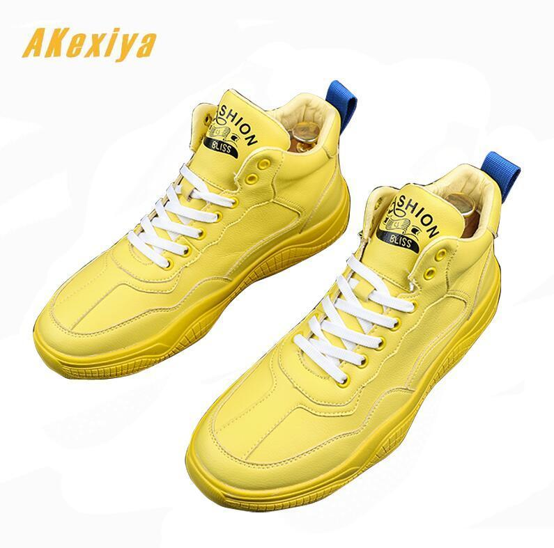 Men high tops  round toe yellow  loafers for man Casual Flats Shoes