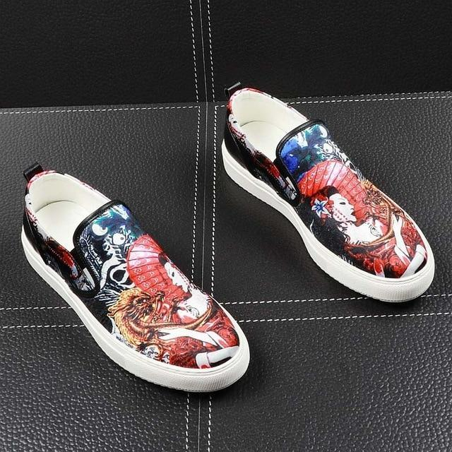 Men round toe platform loafers for man Graffiti printing Casual Flats Shoes