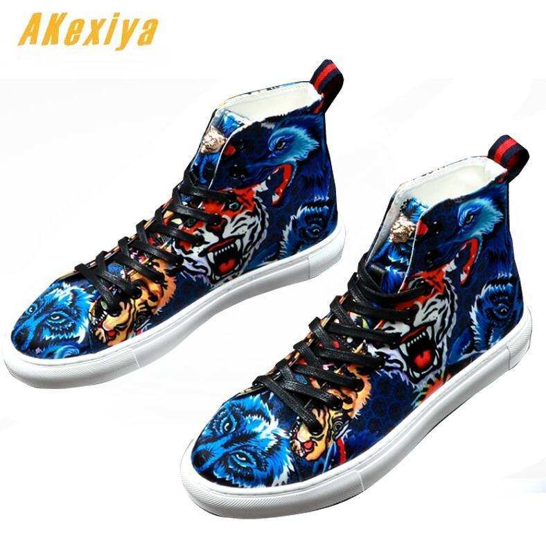 Men street Fashion Punk hip-hop tiger printed high tops Loafers