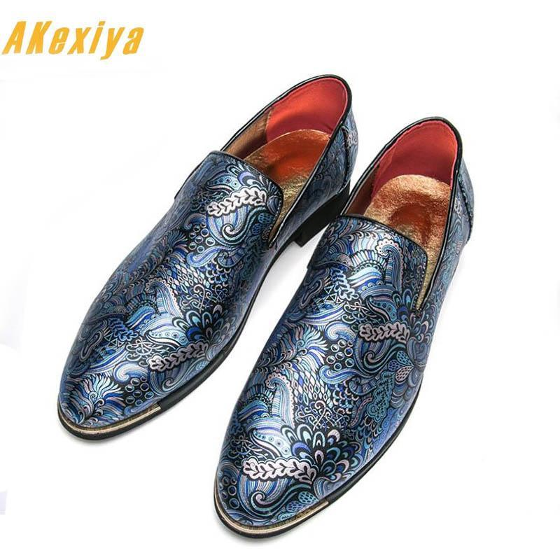 Men street fashion printing Casual Slip-On Shoes Male Homecoming Dress Wedding Party gentleman shoes