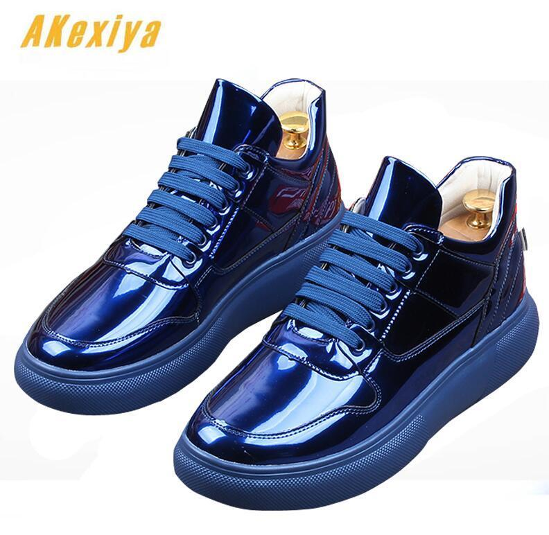 NEW  Trendy Men's Designer lace-up blue white Platform Casual Flats Shoes