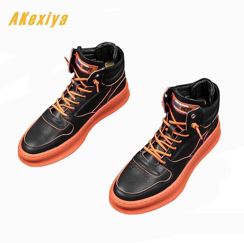 New British Men Trendy lace-up Casual Flats high tops Shoes