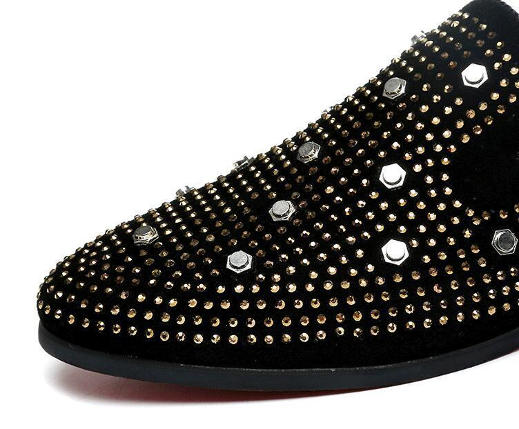New British style Men casual rivet Rhinestone Slip-on shoes Glitter Evening Homecoming Prom shoe