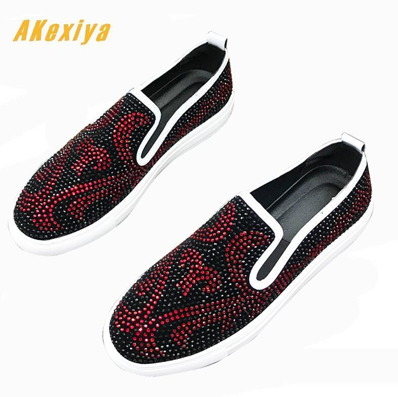New Designer Men red silver glitter rhinestone Platform Casual Flats Shoes