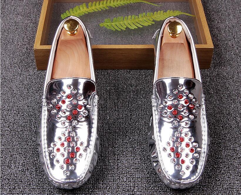 New Fashion Men luxury Designer Gold Silver Black rivet glitter Casual flats Shoes