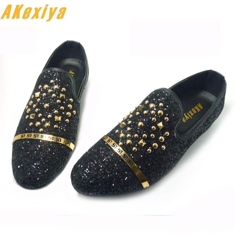 New Luxury Men's Fashion Casual Shoes Gold Glitter Leisure Slip on Rivets Loafers Shoe