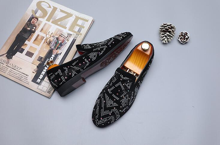 New Men Designer luxury rhinestone Casual Flats Shoes
