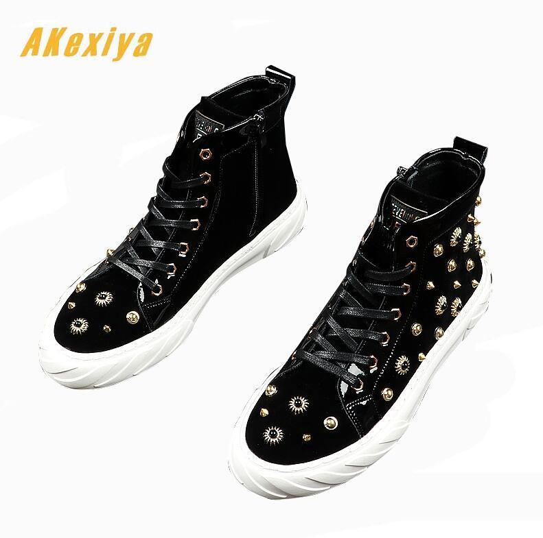 New Men fashion punk rivet comfortable high tops Casual Flats Shoes loafers Male Prom Hip-hop skateboard shoes zapatos hombre