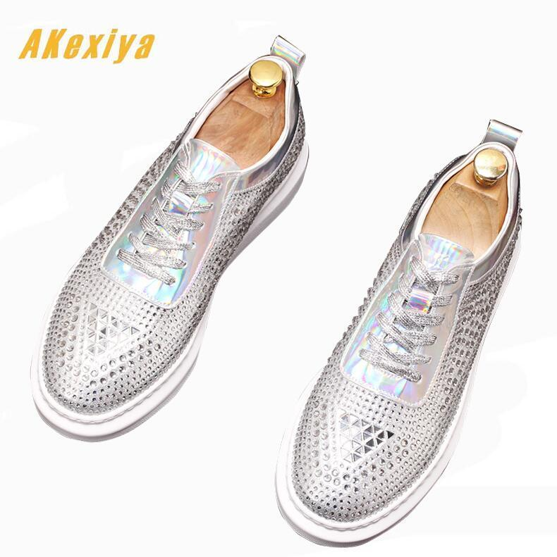 New Men luxury Rhinestone designer streets trendsetter Lace-up Casual Flats Shoes