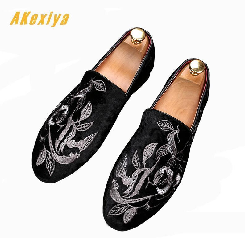 New Trendy Mens Embroidered flowers Shoes Flats Male formal Homecoming Dress Wedding Prom Shoes
