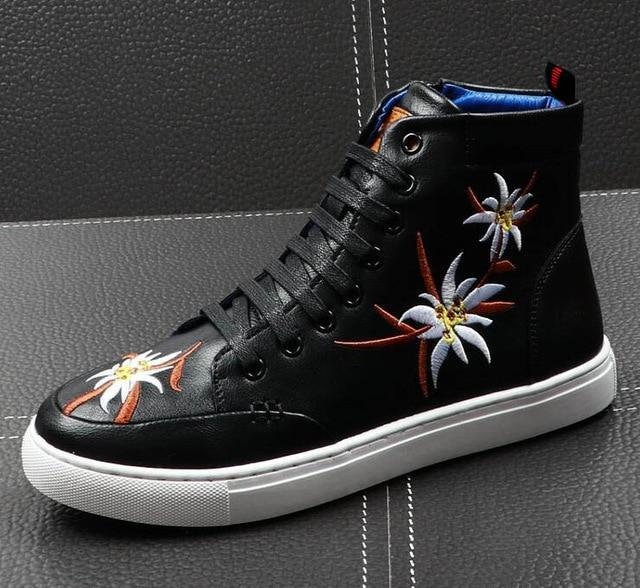 New  Trendy designer Men Embroidered flowers hip-hop Loafers Casual Flats Shoes