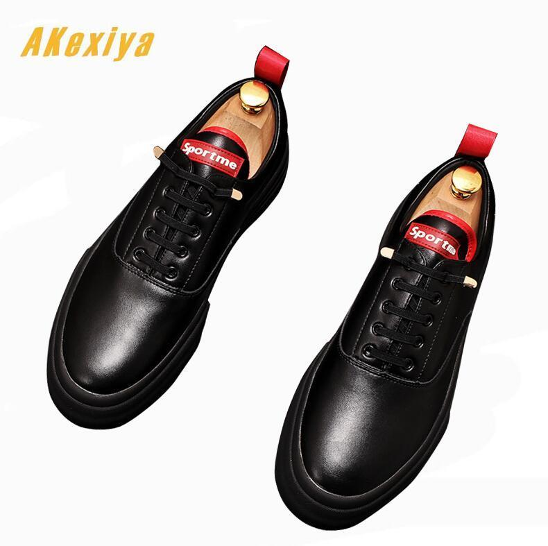 New Youth fashion Men black white lace-up Platform Casual Flats  Shoes loafers