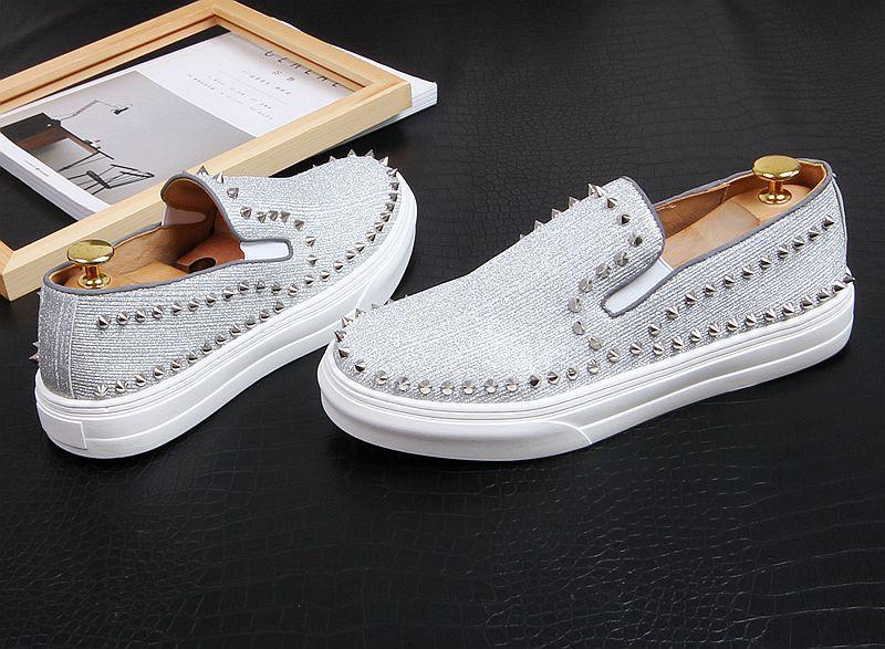 New arrival Men luxury designer Fashion white rivet Causal flat thick bottom shoes