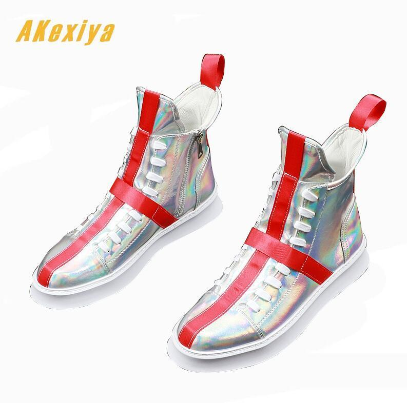 New luxury Summer Men's dazzling silver cross flats high tops Shoes