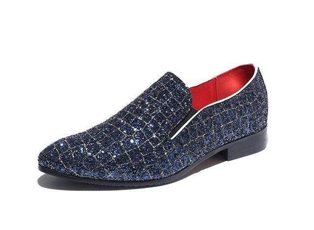 Newes Designer Men grid shining pattern Casual Shoes Male
