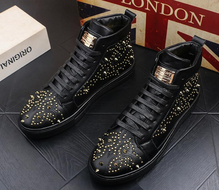 Newest British designer Men Trendy rivet decorative Casual Flats high tops Designer Shoes