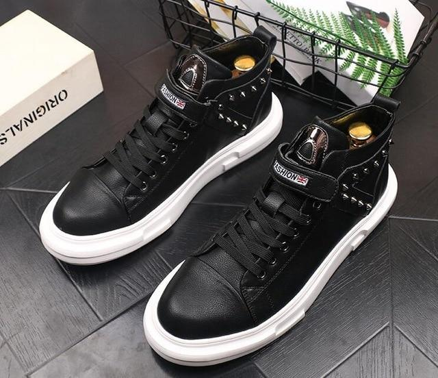 Newest British designer Men fashion rivet decorative Casual Flats high tops Platform Shoes