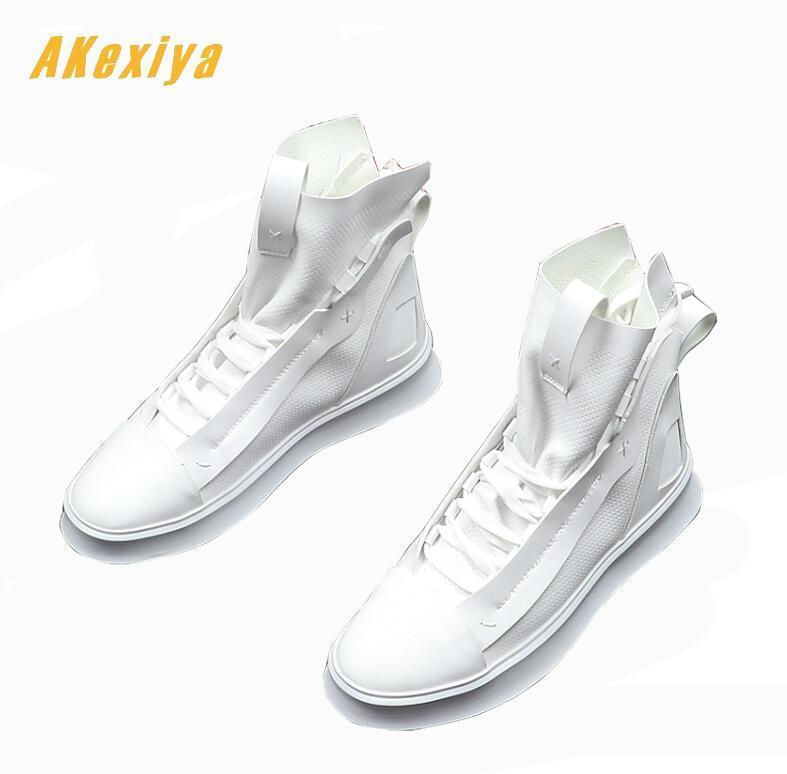 Newest Good quality Designer Men's soft leather comfortable flats high top shoes