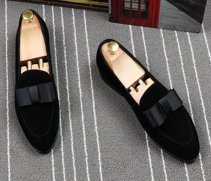 Newest Men's Designer fashion gentleman bow Oxfords Slip-on shoes