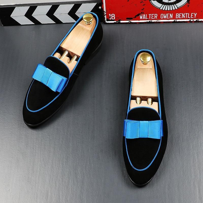 Newest Men's charming British gentleman bowtie flats Shoes