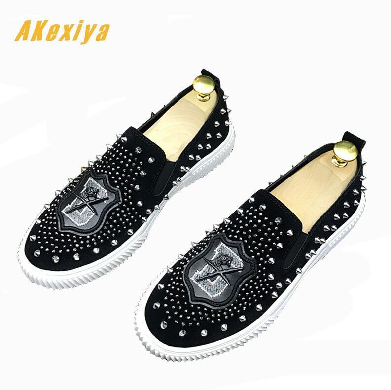 Newest Trendy rhinestone Studded Rivet Spike flats Casual Shoes for men