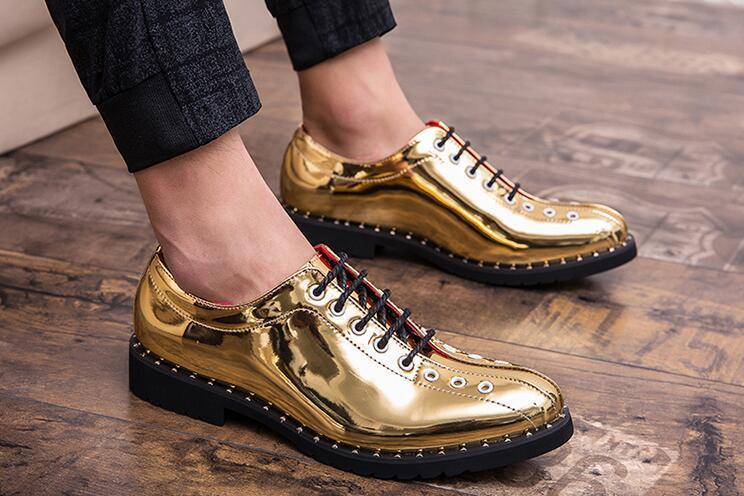 Newest arrival Men shine gold lace-up Casual flats Shoes