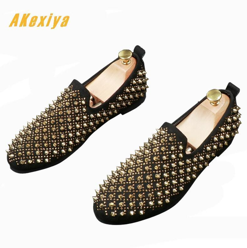 Newest  charming Men's Studded glitter Rivet Spike Shoes Male Wedding Prom Homecoming Business Evening Oxford shoes for man