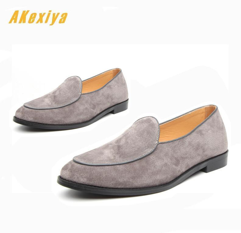 Street Trendy pointed suede dress slip-on comfortable leather shoes