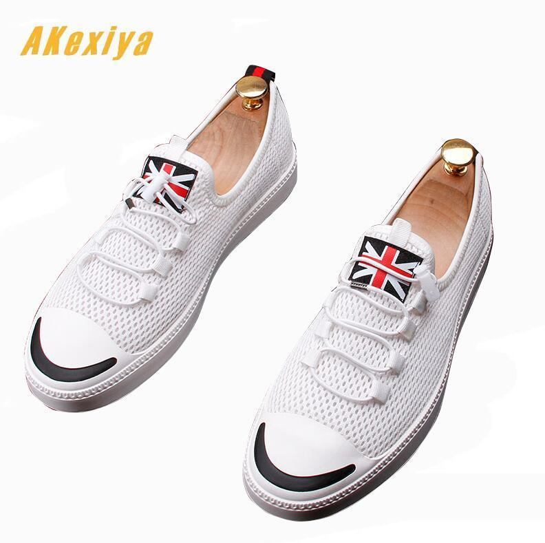 Summer Men British flag Mesh breathable Loafers Casual Flats Shoes