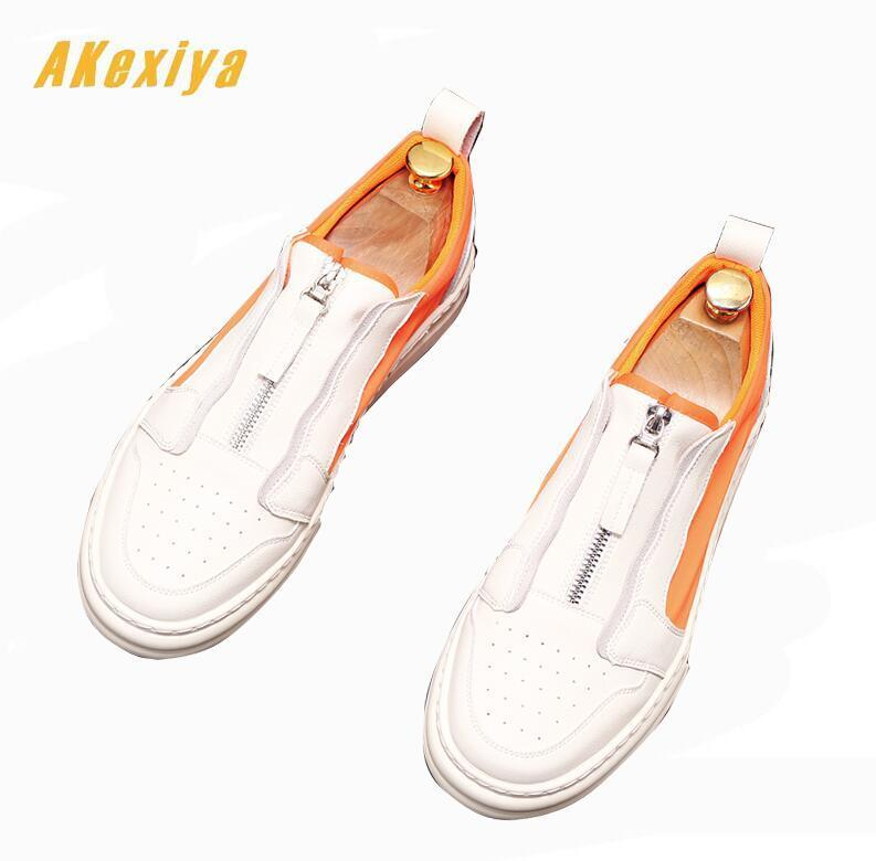 Summer Men designer trend mixed colors Zipper Causal Flats shoes