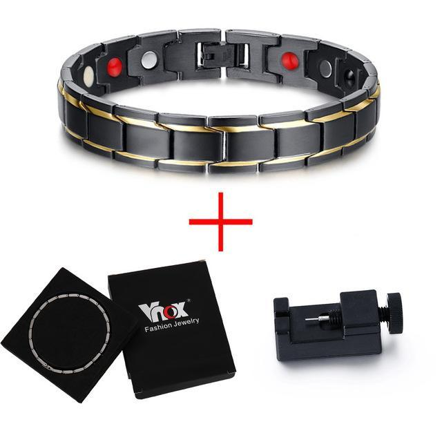 Black Titanium Gold Stripes Magnetic Therapy Bracelet