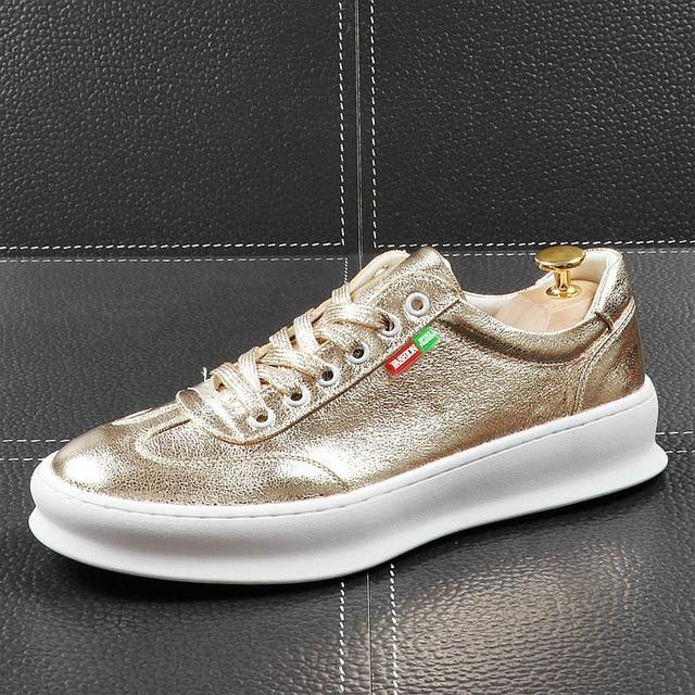 charm Men's Designer Gold silver comfort lace-up Shoes Loafers Platform Casual Flats Shoes