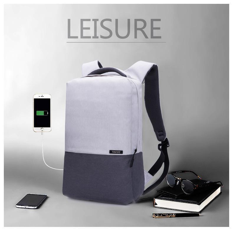 Ultra Light 16 Inch Laptop USB Anti-Theft Computer Unisex Canvas Backpack