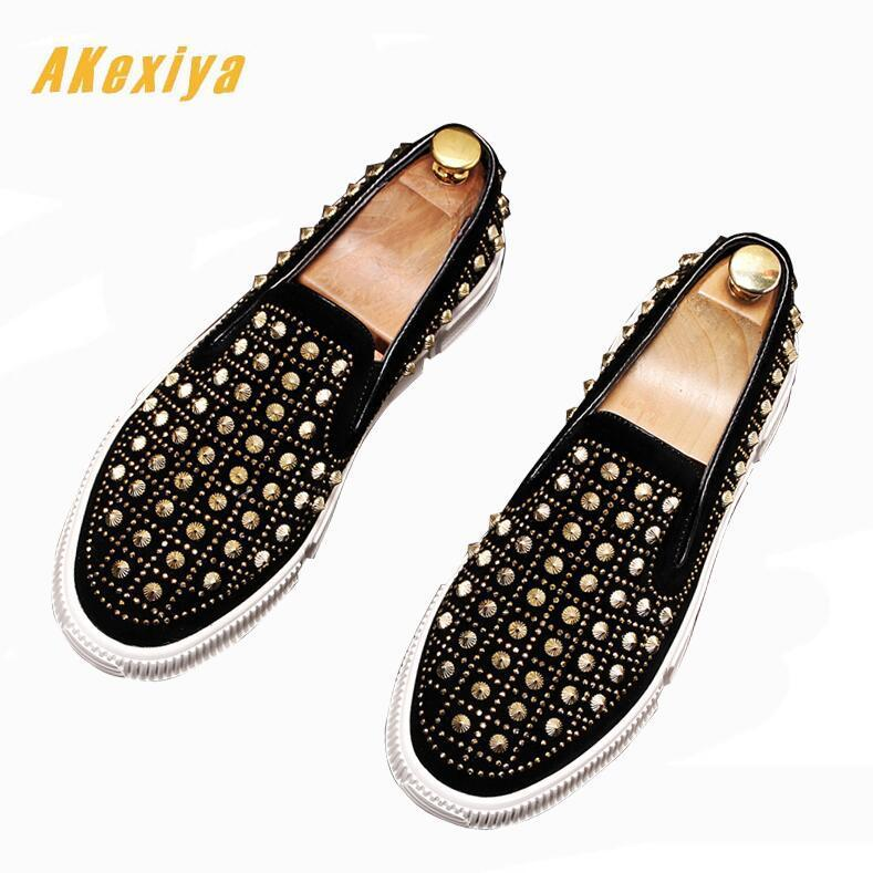 high quality Men luxury Round toe rivet platform loafers Casual Flats Shoes