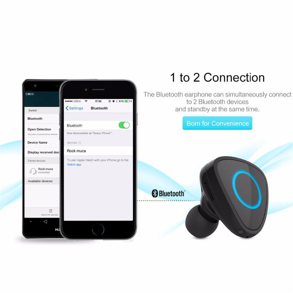 New Wireless Bluetooth Handsfree HD Voice One-Piece Earbud Headset with USB Car Charger