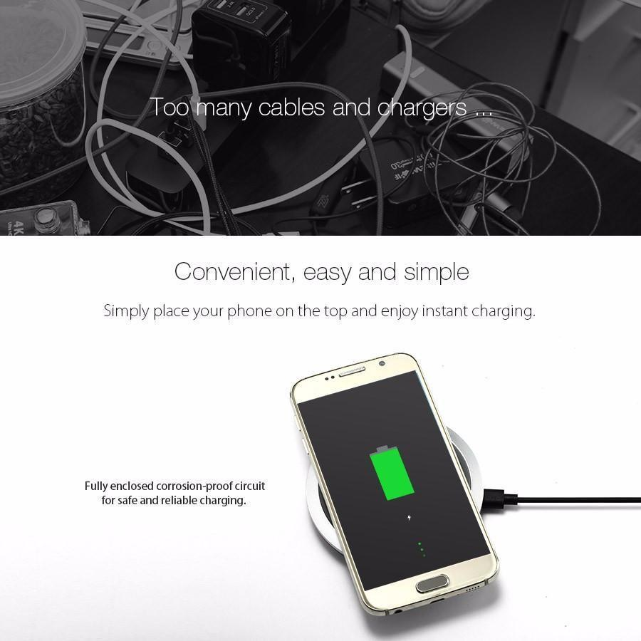 BlitzWolf Qi Wireless Charger for Desktop Mobile Phone with 9V Fast Charging Pad