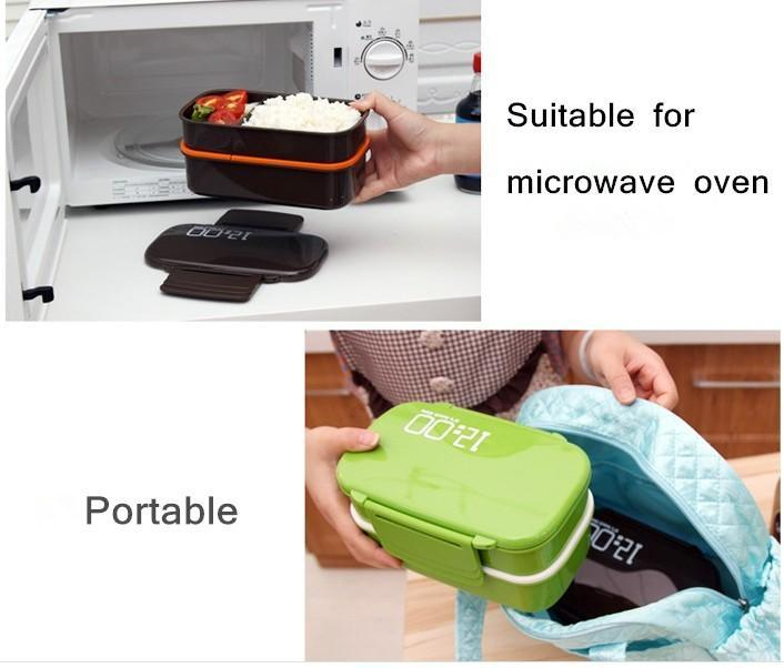 Large Capacity 1400ml Double Layer Plastic Lunch Box 12:00 Microwave